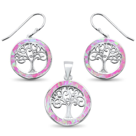 Pink Opal Tree Of Life .925 Sterling Silver Earrings & Pendant Set