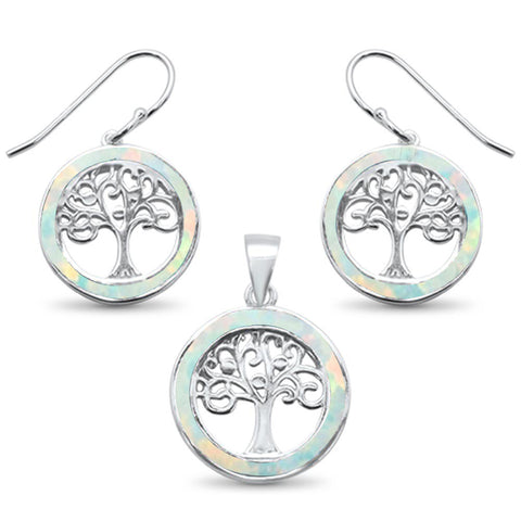 White Opal Tree Of Life .925 Sterling Silver Earrings & Pendant Set