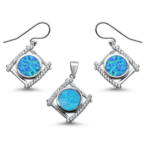 Round Blue Opal & Cubic Zirconia .925 Sterling Silver Pendant & Earring Set