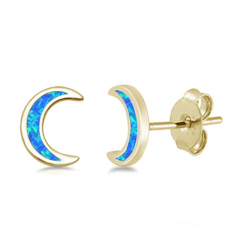 Yellow Gold Plated Blue Opal Moon .925 Sterling Silver Earrings