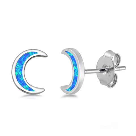 Blue Opal Moon .925 Sterling Silver Earrings