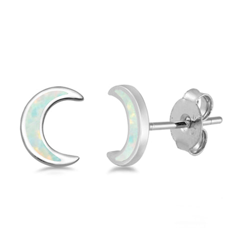 White Opal Moon .925 Sterling Silver Earrings