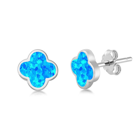 Blue Opal Clover Flower .925 Sterling Silver Earrings