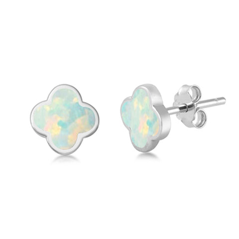 White Opal Clover Flower .925 Sterling Silver Earrings