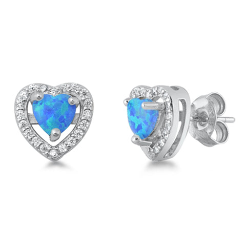 Blue Opal Heart .925 Sterling Silver Earrings
