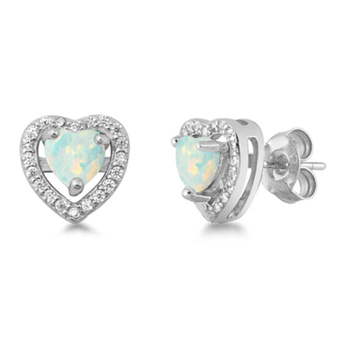 White Opal Heart .925 Sterling Silver Earrings