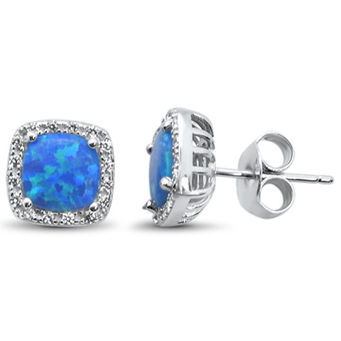 Cushion Cut Blue Opal & Cubic Zirconia .925 Sterling Silver Earrings