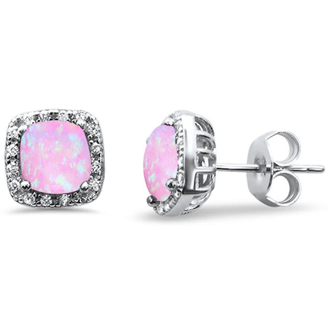Pink Opal Cushion Cut & Cubic Zirconia .925 Sterling Silver Earrings