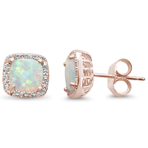 Rose Gold Plated Cushion Cut White Opal & CZ .925 Sterling Silver Earrings