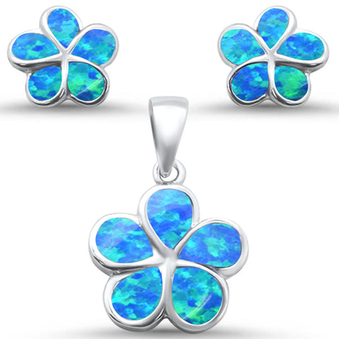 Blue Opal Plumeria Flower .925 Sterling Silver Earring & Pendant Set