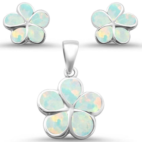 White Opal Plumeria Flower .925 Sterling Silver Earrings & Pendant Set