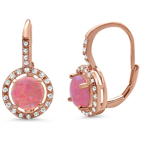 Rose Gold Plated Round Halo Cubic Zirconia .925 Sterling Silver Earrings