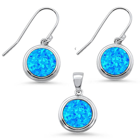 Round Blue Opal .925 Sterling Silver Pendant & Earring Set