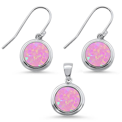 Round Pink Opal .925 Sterling Silver Pendant & Earring Set