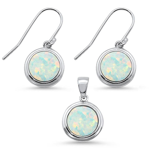 Round White Opal .925 Sterling Silver Pendant & Earring Set