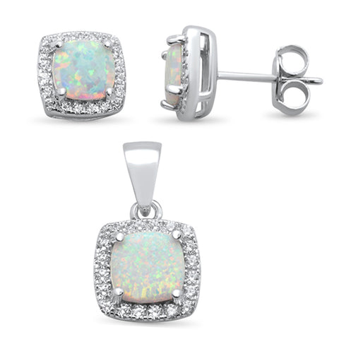 Cushion Cut White Opal & Cubic Zirconia .925 Sterling Silver Pendant & Earring Set