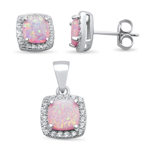 Cushion Cut Pink Opal & Cubic Zirconia .925 Sterling Silver Pendant & Earring Set