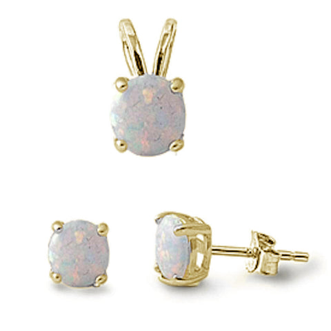 Yellow Plated White Opal Round .925 Sterling Silver Pendant & Earrings Set