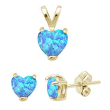 Yellow Gold Plated Blue Opal Heart Earring & Pendant .925 Sterling Silver Set
