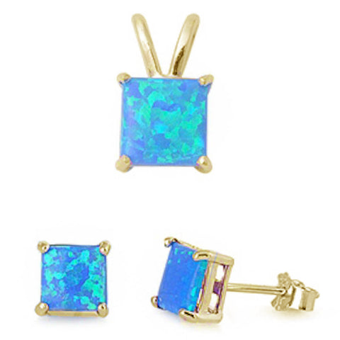 Yellow Gold Plated Blue Opal Earring & Pendant .925 Sterling Silver Set