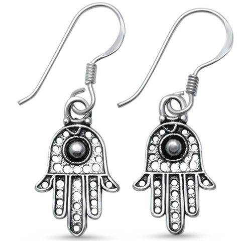Plain Kabbalah Hand of God Evil Eye  .925 Sterling Silver Earrings