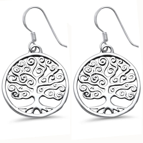 Whimsical Curly Plain Round Tree of Life .925 Sterling Silver Earrings