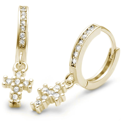 Yellow Gold Plated Cubic Zirconia Cross Hoop .925 Sterling Silver Earrings