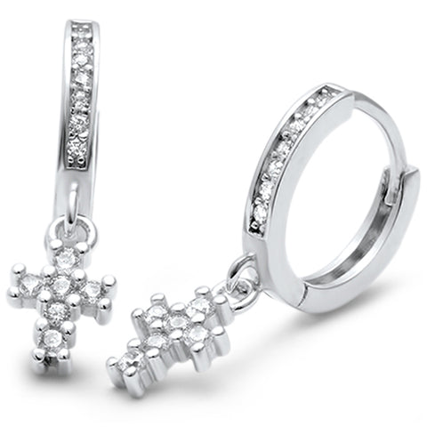 Cubic Zirconia Cross Hoop .925 Sterling Silver Earrings
