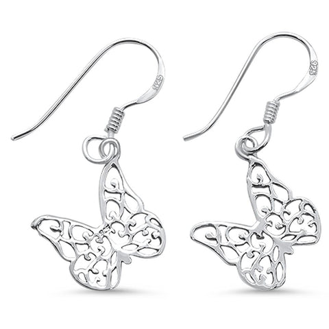 Plain Butterfly Design Dangling .925 Sterling Silver Earrings