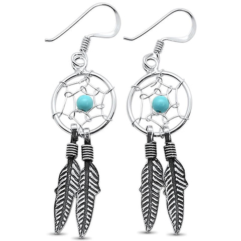 Turquoise Dream Catcher & feather .925 Sterling Silver Earrings