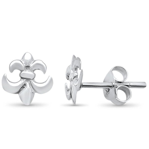 Plain Fleur de Lis Stud .925 Sterling Silver Earrings