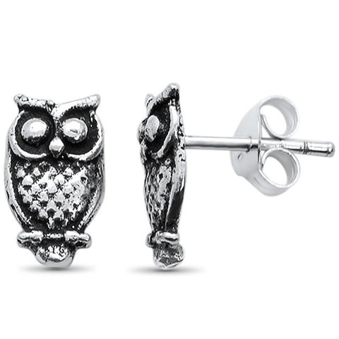 Plain Owl Stud .925 Sterling Silver Earrings
