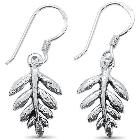 Plain Fern Leaf Dangling .925 Sterling Silver Earrings