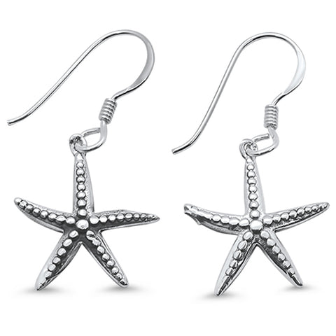 Plain Starfish Dangle .925 Sterling Silver Earrings