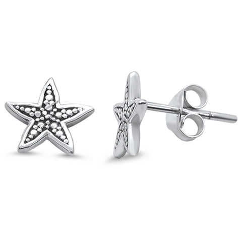 Plain Starfish Stud .925 Sterling Silver Earrings