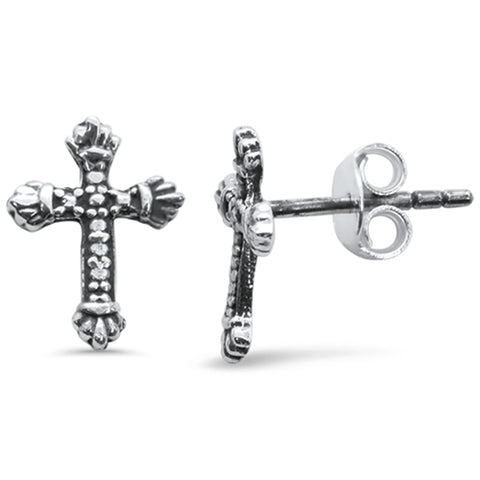 Plain Cross Stud .925 Sterling Silver Earrings