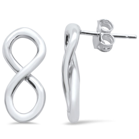 Plain Infinity Stud .925 Sterling Silver Earrings