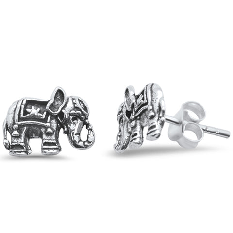 Plain Elephant Stud .925 Sterling Silver Earrings