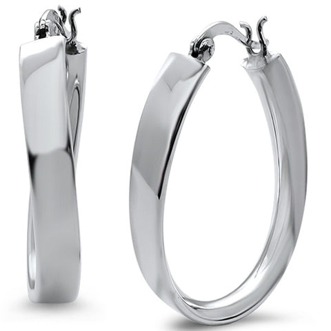 Electroform Plain Twisted Hoop .925 Sterling Silver Earrings