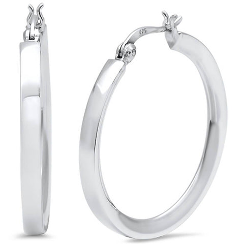 Plain Hoop .925 Sterling Silver Earrings