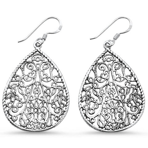 Plain Filigree .925 Sterling Silver Earrings