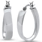 Plain Oval Hoop .925 Sterling Silver Earrings