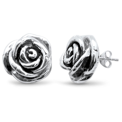 Electroform Plain Flower Stud .925 Sterling Silver Earrings