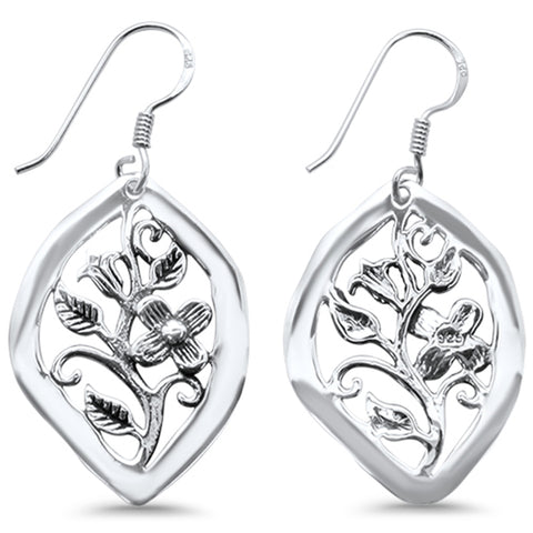 Plain Rose Flower Filigree  .925 Sterling Silver Earrings