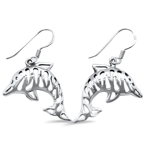 Plain Drop Dangle Dolphin .925 Sterling Silver Earrings
