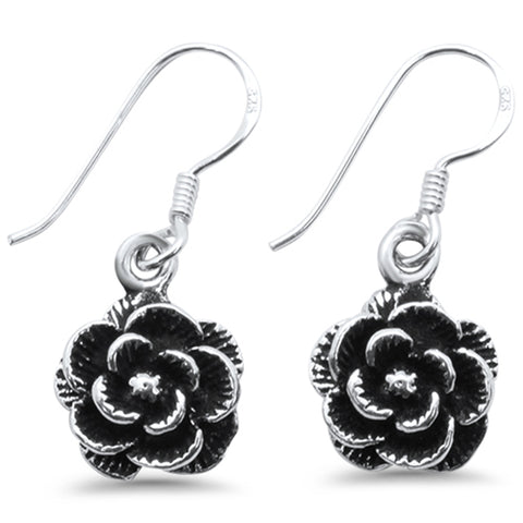 Plain Rose Drop Dangle .925 Sterling Silver Earrings