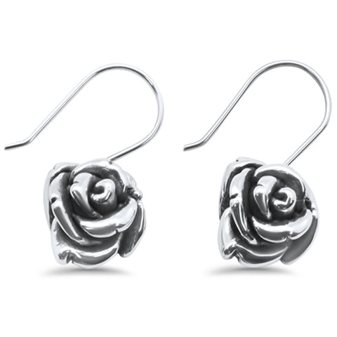 Plain Oxidized Rose .925 Sterling Silver Earrings