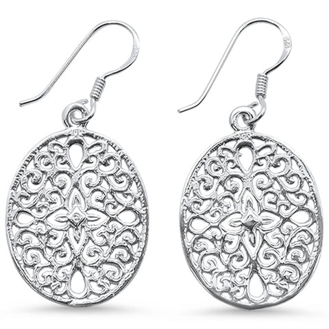 Plain Filigree Disc Drop Dangle .925 Sterling Silver Earrings