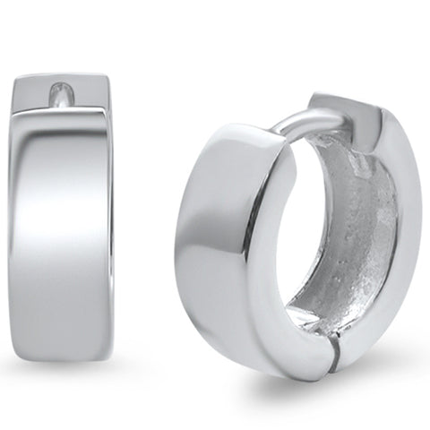 Plain Hoop Huggie .925 Sterling Silver Earrings
