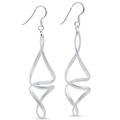 Plain Drop Dangle Swirl .925 Sterling Silver Earrings